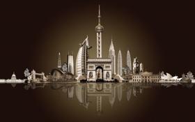 Обои отель, hotel, Tower Bridge, Burj Al Arab, триумфальная арка, building, sky tower