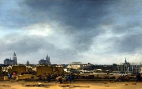 Обои небо, город, дома, картина, развалины, Нидерланды, Делф