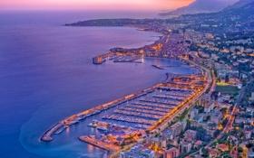 Картинка закат, menton, океан, вечер, огни, порт, курорт