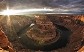 Картинка природа, река, каньон, arizona, red dessert, colorado river, Horse shoe bend