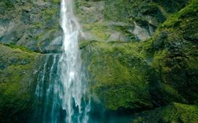 Обои зелень, вода, пейзаж, природа, камни, скалы, водопад