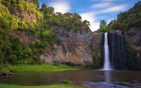 Обои деревья, природа, река, гора, водопад