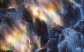 Картинка камни, поток, вода, брызги, водопад, природа, свет