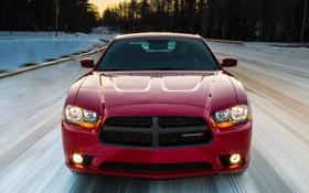 Обои авто, скорость, Dodge, вид спереди, Charger, Sport, AWD