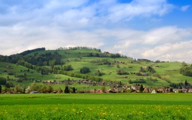 Обои поле, пейзаж, природа, город, фото, дома, Швейцария