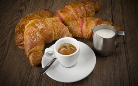 Обои завтрак, круассаны, coffee, кофе, croissants, молоко, Breakfast
