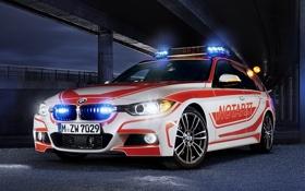 Обои BMW, БМВ, передок, 3 Series, Touring, Notarzt, M package