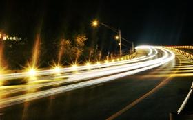 Обои ночь, город, огни, улица