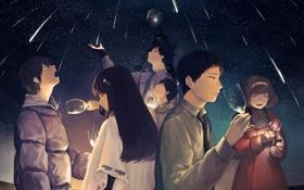 Обои звезды, ночь, бокалы, Люди, звездопад