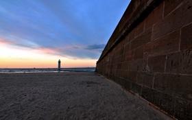 Картинка море, пейзаж, стена, маяк