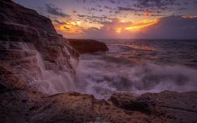 Картинка вода, океан, скалы, рассвет