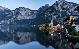 Картинка горы, огни, озеро, дома, вечер, Австрия, Гальштат