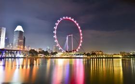 Картинка вода, ночь, огни, отражение, Сингапур, колесо обозрения