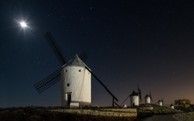 Обои небо, ночь, звёзды, мельницы