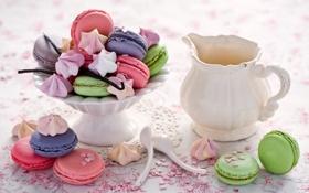Обои палочки, печенье, сладости, посуда, разноцветное, десерт, ваниль