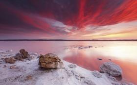Обои пейзаж, закат, озеро, камни, берег, соль