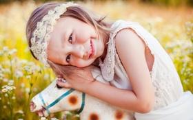Картинка поле, трава, природа, игрушка, девочка, ребёнок, лошадка