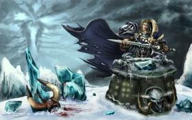 Картинка меч, арт, рога, шлем, алтарь, art, warcraft 3
