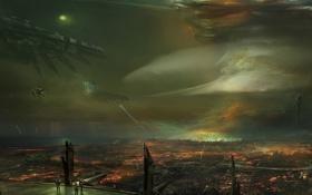 Картинка взрыв, город, люди, корабли, война, молнии