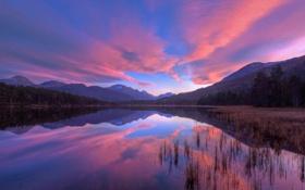 Обои небо, закат, горы, озеро