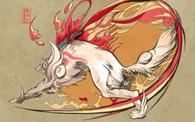 Картинка огонь, арт, бег, волк, Okami