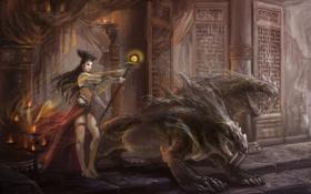 Картинка девушка, магия, шар, свечи, арт, монстры, посох
