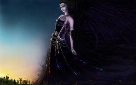 Обои взгляд, девушка, украшения, ночь, фантастика, шлейф, платье