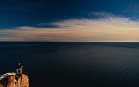Обои взор, небо, природа, снег, мужчина, море, гора