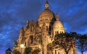 Обои деревья, город, фото, Франция, Париж, здание, вечер