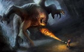 Обои огонь, человек, монстр, арт, cloudminedesign, огнемет, многорукий
