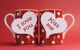Обои любовь, романтика, сердечки, red, love, кружки, i love you