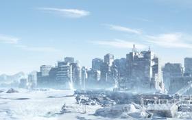 Обои лед, зима, снег, горы, город, фантастика, дома