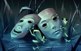 Обои лягушки, арт, маски, трава