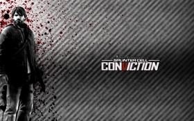 Обои капли, надпись, Сэм Фишер, Splinter Cell, Conviction