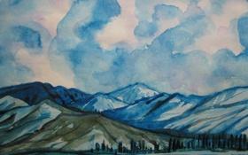 Обои небо, пейзаж, горы, синий, Рисунок, хребты