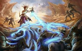 Обои скалы, магия, арт, монстры, Diablo 3, Witch Doctor