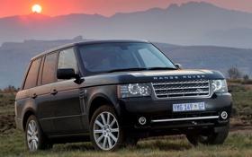 Обои солнце, горы, джип, внедорожник, Land Rover, Range Rover, Ленд Ровер
