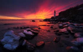 Обои rock, ocean, coast, sunset, lighthouse