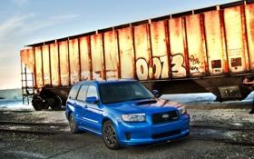Обои Subaru, вагон, синий, графити, рельсы.небо, тюнинг, Форестер