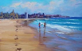 Обои рисунок, арт, artsaus, beach fishing