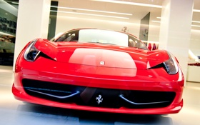 Обои Ferrari 458 Italia, ferrari, феррари, red, красный, спереди