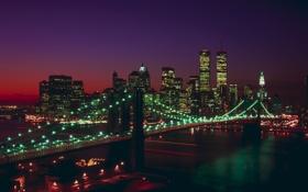 Обои ночь, мост, город