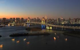 Обои мост, Япония, Токио, панорама, Tokyo, Japan, Rainbow Bridge