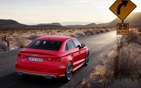 Обои Audi, Красный, Ауди, Пустыня, Машина, Знак, Седан