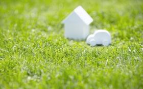 Обои трава, фото, фигурки, зелень, дом, обои, картинка