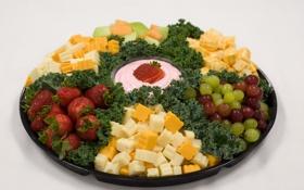 Картинка фото, еда, клубника, виноград, фрукты, сыры