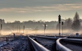 Обои пейзаж, туман, перспектива, железная дорога