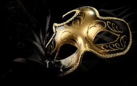 Обои gold, feathers, bright, carnival mask
