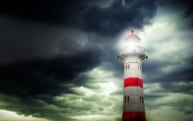 Картинка свет, тучи, маяк, вечер, прожектор