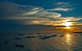 Картинка море, небо, пейзаж, ночь, природа, лодки